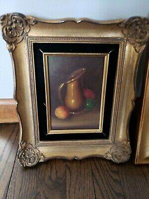 Vintage Still Life Oil Painting on Canvas Framed-Fruit jug 12 inch long 9.5 wide
