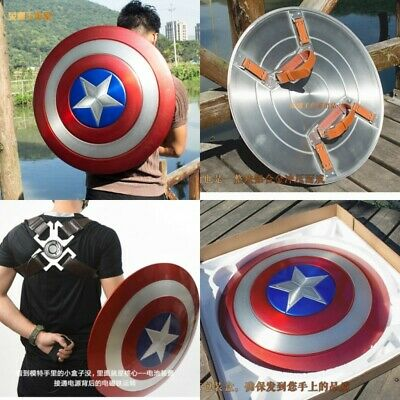 Captain America Shield Aluminum Alloy 1:1 Scale Shield  +Magnet Back Strap ABS
