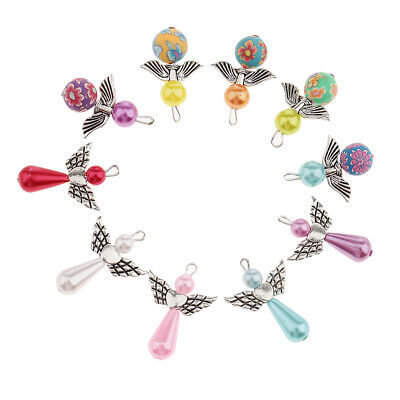 10pcs Pearl Polymer Clay Angel Wings Charms Pendants for Jewelry Making