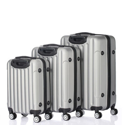 3PCS Grey Luggage Travel Set Bag ABS Trolley Hard Shell Suitcase w/TSA lock Grey