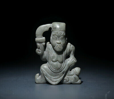 Excellent Chinese Ancient Jade Carved Warrior Figure Statue Amulet Pendant 2.36""