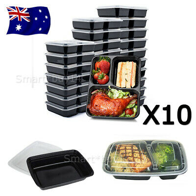 Meal Prep Plastic Food Storage Containers Freezer Microwavable Lunch Box AU