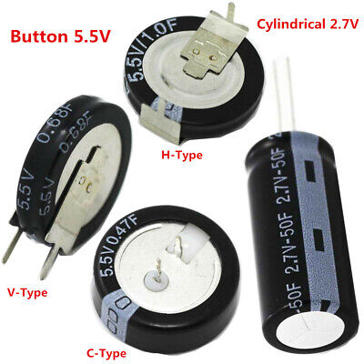 0.22F-50F Super Farad Capacitor 2.7/5.5V 1F 4F 50F Cylindrical/C H V Type Button
