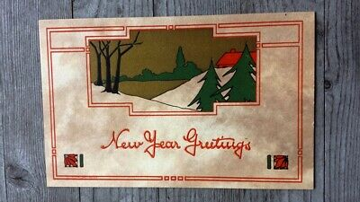 Vintage Arts and Crafts New Year's Postcard #3