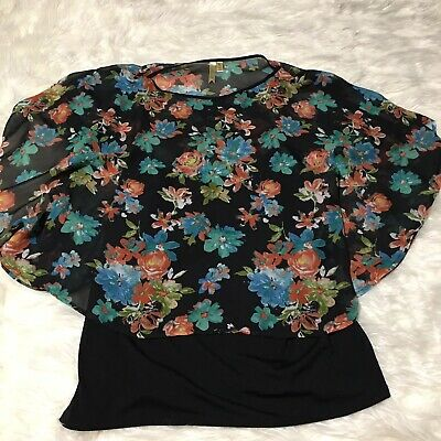 Chenault Bell Sleeve Top Blouse Tunic Chiffon Black Stretchy Plus Size NWT$74