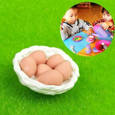 1:12 Dolls House Miniature Kitchen Food Accessories 6 Eggs & basket  Set
