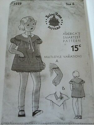 Antique Sewing Pattern Girl's Dress- 1930's Betsy Ross # 5228