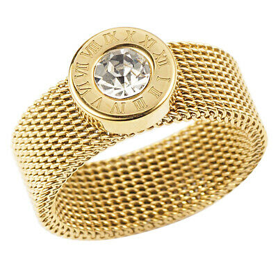 Roman Number Round Crystal Mesh Chain Ring Stainless Steel Women Fashion Jewelry