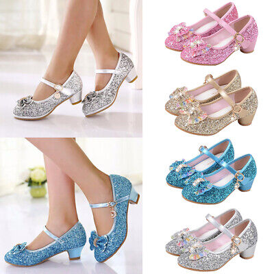 Girls Childrens Kids Mid Heel Diamante Bow Party Shoes Bridesmaid Sandals Size