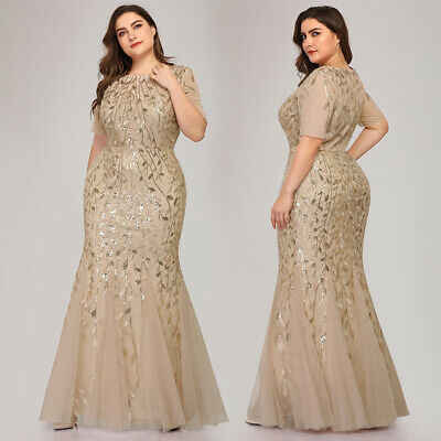 510f945adb83 Ever-pretty Plus Size Long Mermaid Evening Dresses Sequins Celebrity Prom  Gowns