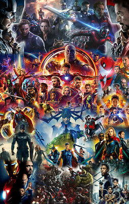 22 Marvel Cinematic Universe COLLAGE Poster Avengers End Game Movie Film Art