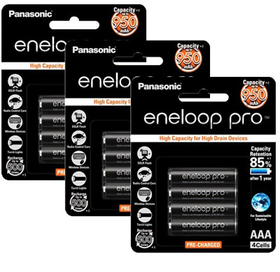 Panasonic Eneloop Pro - AAA NiMH Rechargeable Batteries x 12 - Made in Japan