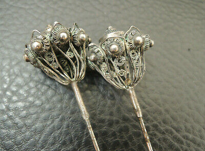 """ANTIQUE VICTORIAN 830Ag.Germany FILIGREE HAT PIN 9.44"""""""