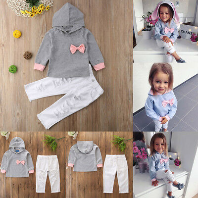 2PCS Toddler Kids Baby Girls Clothes T-shirt Tops+Long Pants Jeans Outfits Set