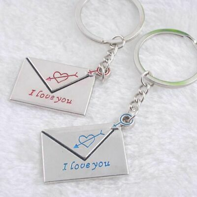 Stainless Steel His&Hers Love Heart Envelope Keyring Set Couple Keychain Gift