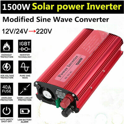 1000/1500W Car Converter Modified Sine Wave Power Inverter DC 12/24V to AC 240V