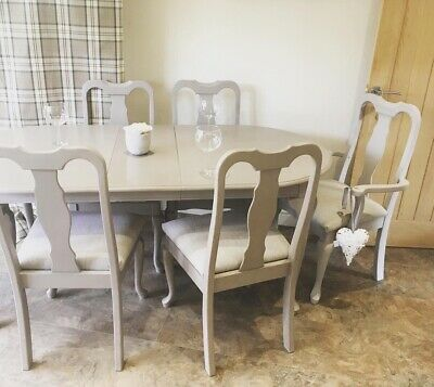 Shabby Chic Chalk Painted Kitchen Dining Table Chairs Beige Taupe Grey Extending