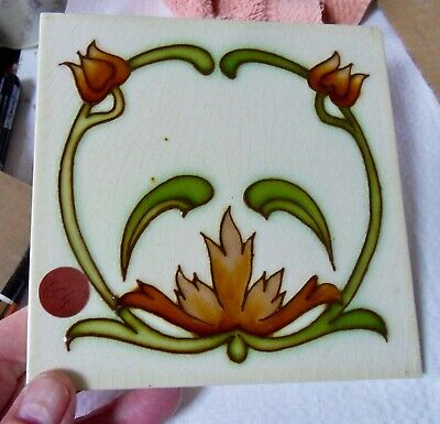 "Original tubed English  Art Nouveau tile , c1906/8 6""x6""Tile 604"
