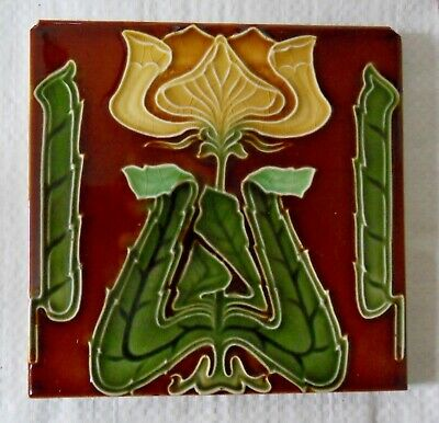 "Original  English  Art Nouveau tile , c1905/6 6""x6""Tile ref 533"