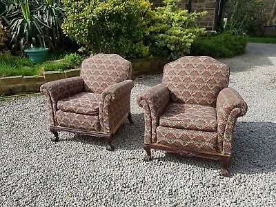 Pair of Antique Early 20th Century Upholstered Chippendale Revival Armchairs