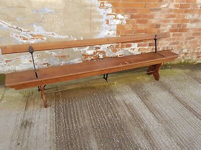 Victorian Pitch Pine and Metal Double Sided Railway Church Chapel School Bench