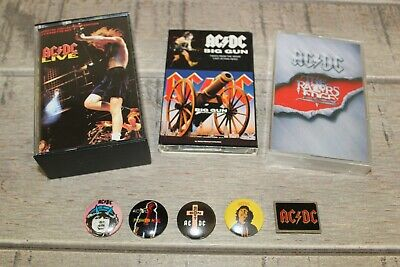 Lot K7 cassettes audio + badges: AC DC  - LIVE + The Razors Edge + K7  Big Gun