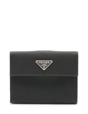 0454c3db265d PRADA WALLET PURSE Trifold Logo Black Gold leather Woman Authentic ...