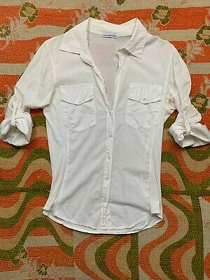 301dade4 STANDARD JAMES PERSE Womens Button Down Shirt Ribbed White 3/4 Sleeve Sz 2