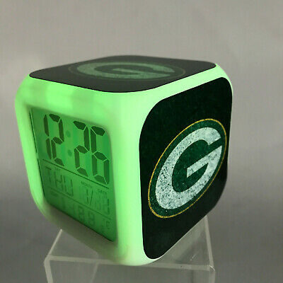 Green Bay Packers LED Digital Alarm Clock Watch Lamp Decor Aaron Rodgers Gift