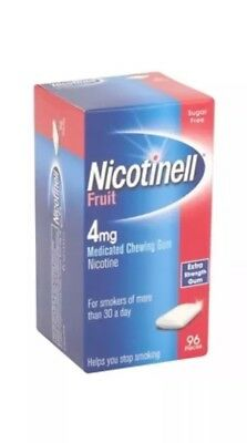 3x Nicotinell Fruit Medicated Gum 4mg - 96 Pieces