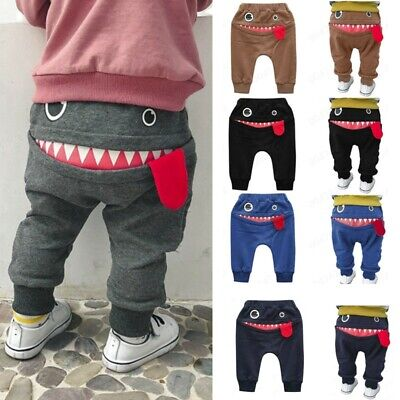 Baby Child Kids Boy Girl Cartoon Shark Tongue Harem Long Pants Trousers Pant UK