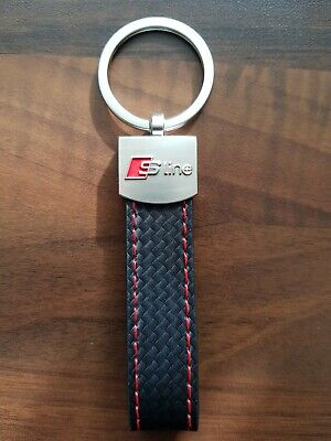 ⭐️2019 AUDI S LINE⭐️GENUINE LEATHER BLACK CARBON FIBRE LOOK KEYRING UK STOCK