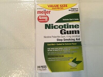 Nicotine Gum 4 MG Coated Cool Mint 240 Pieces 04/2019-compare to Nicorette