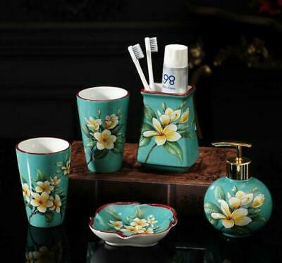 5pcs Ceramic Bath Accessory Set Blue Color Soap Dish Dispenser Toothbrush Holder