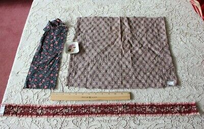 3 Pieces Antique 18th-19thC French Cotton Printed Quilt/Doll Fabrics~Jouy