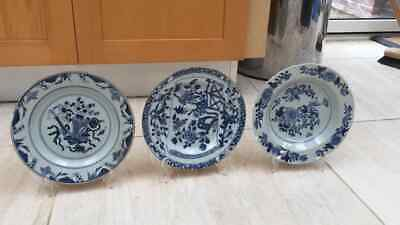 Three blue and white 18th century Chinese plates