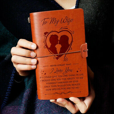 To My Wife I Love You From Husband Engraved Leather Journal Notebook Diary Custo