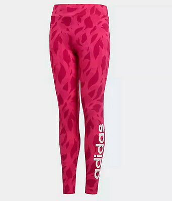 Girls Adidas essentials Leggings linear printed logo age 11-12 pink NEW Last 2