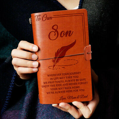 To Our Son Where Ever Love Mom & Dad Engraved Leather Journal Notebook Diary