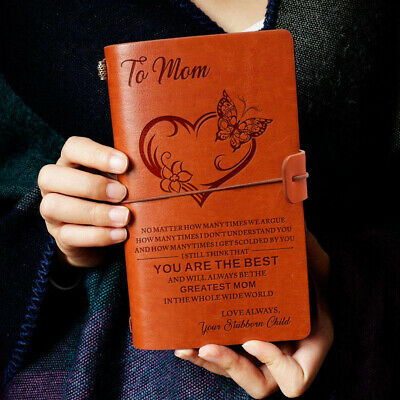 To Mom The Best Love Stubborn Child Engraved Leather Journal Notebook Diary