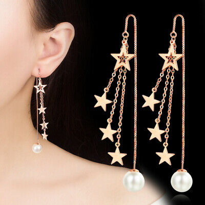 Womens 925 Sterling Silver Tassel Five-pointed star Pearl Ear Line Stud Earrings