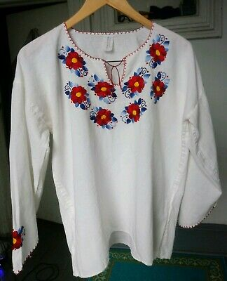 Vtg 70s Mexican Embroidered Cotton Peasant Top Floral White Gauze Sz M Folk art