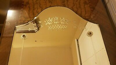 """Antique Art Deco Round Top Reversed Etched Flowers Frameless Wall Mirror 34""""×16"""""""