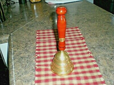 Vintage Decorative Long Wood Handled Etched Brass Dinner/School Hand Bell, India