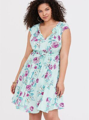bfeeedbd539 NWT Womens Torrid Mint Floral Challis Skater Dress Size 14 1 X Large