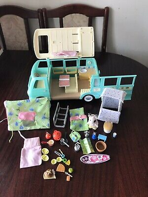 Sylvanian Families  Blue Camper Van With Camping & Toilet Set In VGC
