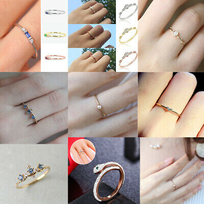 Cute Small Crystal Finger Ring White Gold Wedding Engagement Band Jewelry Gift