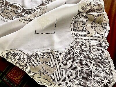 Vintage Hand Embroidered White Linen Lefkara Lace Tablecloth 70x70 Inches