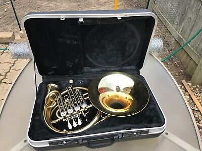 Solid Brass Professional French Horn & Case. Unknown Maker Two Tone Great Shape
