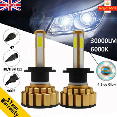 110W 30000LM Canbus 4 Side Glow Car LED Headlight H4 H7 H8 H9 H11 9005 9006 Kit